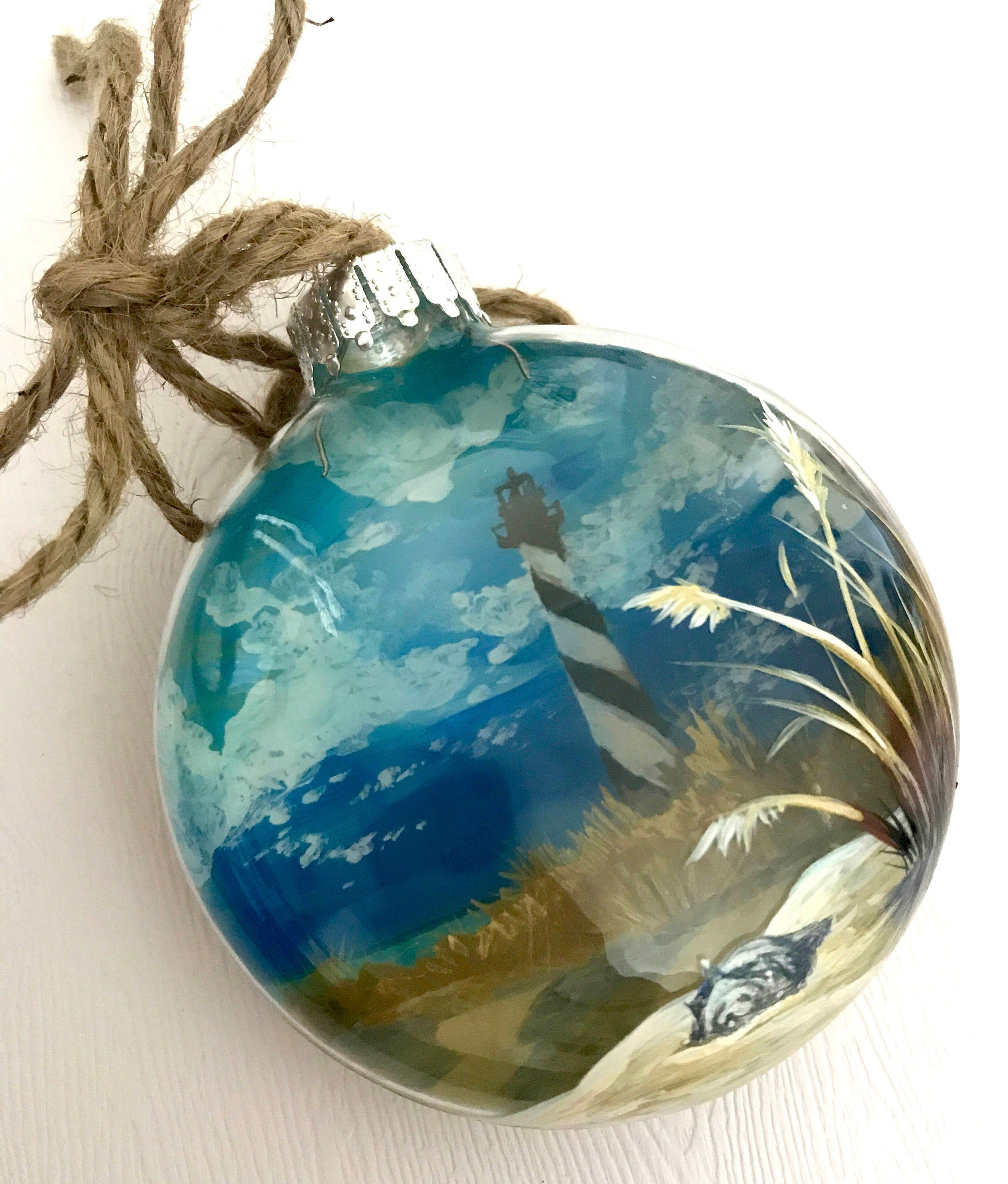 Lighthouse Christmas Tree Ornament Beach Hand Painted ...
