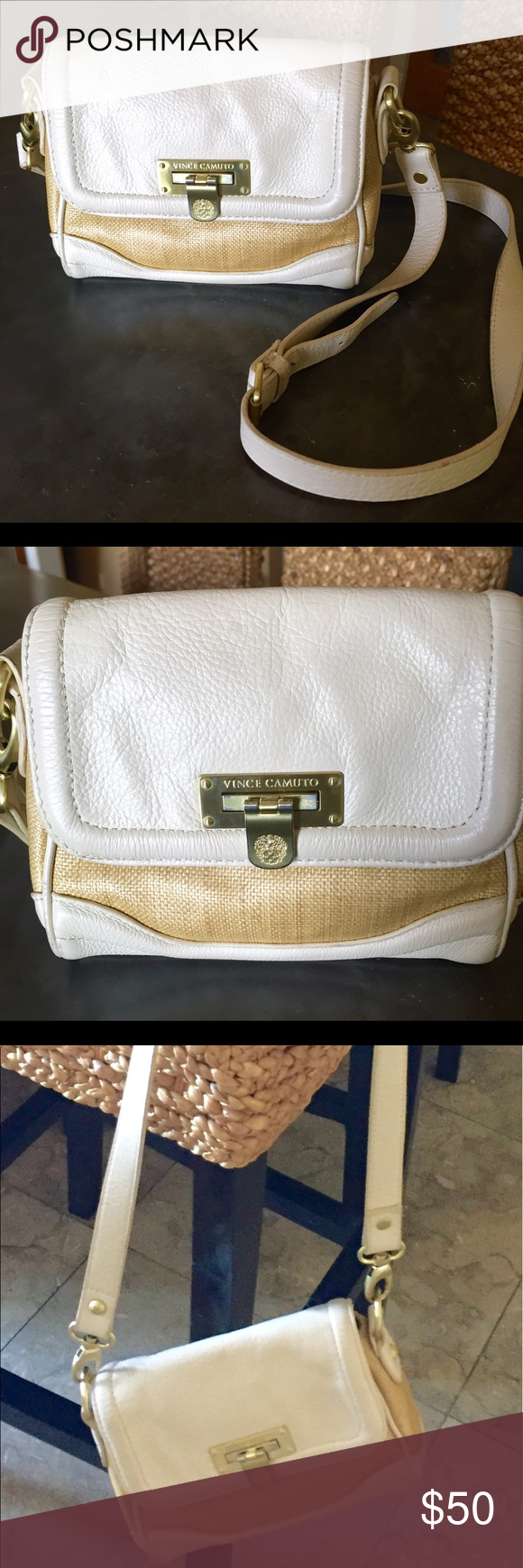 On Sale!! Vince Camuto tan straw prfct summer bag Darling long shoulder bag sm  cross body Vince Camuto bag tan and cream in tan straw look with cream ... bae50ddbf0b8d