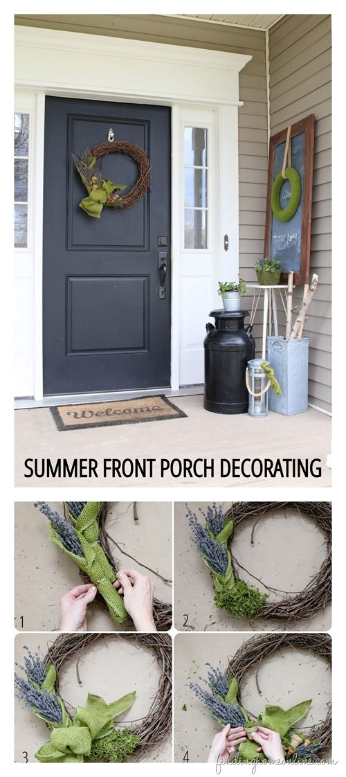 Summer Front Porch Decorating with lavender-flower-moss wreath tutorial from Finding Home. #porch #summer