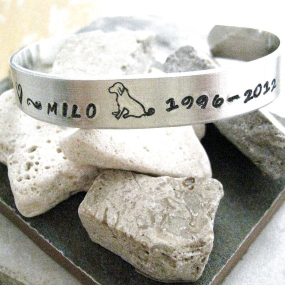 Pet Remembrance Bracelet Hand Stamped Rox 1 2 Inch Wide Customizable Please