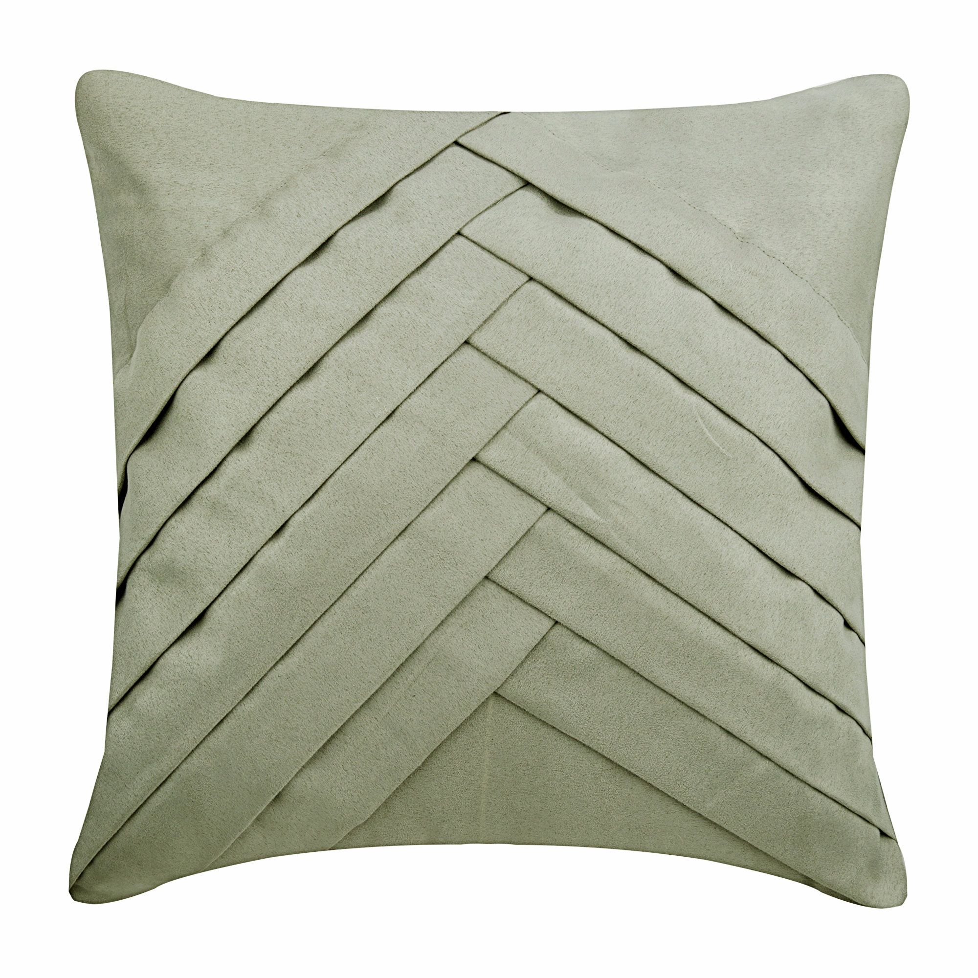 Light Grey Throw Pillows For Bed 16x16 Pillow Covers Suede Pleated