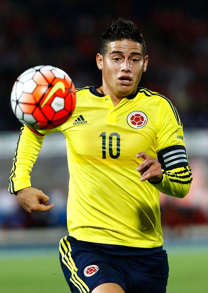 James Rodriguez of Chile goes for the ball during a match between Chile and Colombia as part of FIFA 2018 World Cup Qualifiers at Nacional Stadium on...