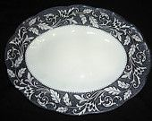 Black and White Ironstone Transferware Platter with Scrolls Leaves and Vines Border