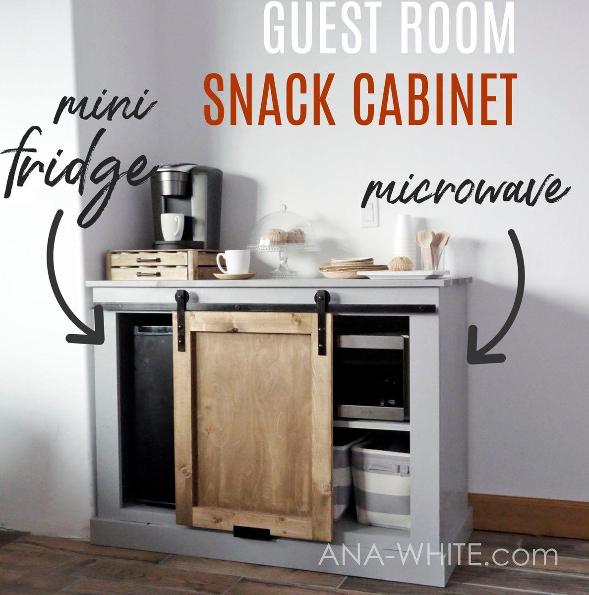Barn Door Cabinet with Mini Fridge and Microwave   Mini fridge ...