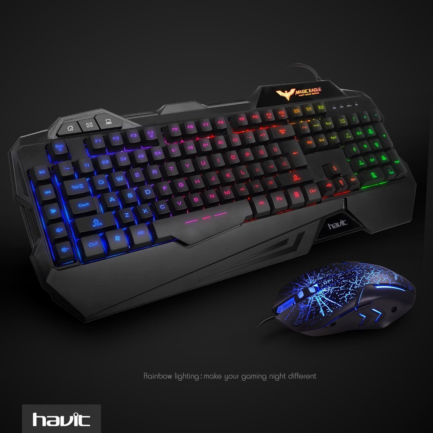 2a1104336c4 HAVIT Rainbow Backlit Wired Gaming Keyboard Mouse Combo•Rainbow of LED  Backlit can switch among medium light,high light,breath mode and turn off  by pressing ...