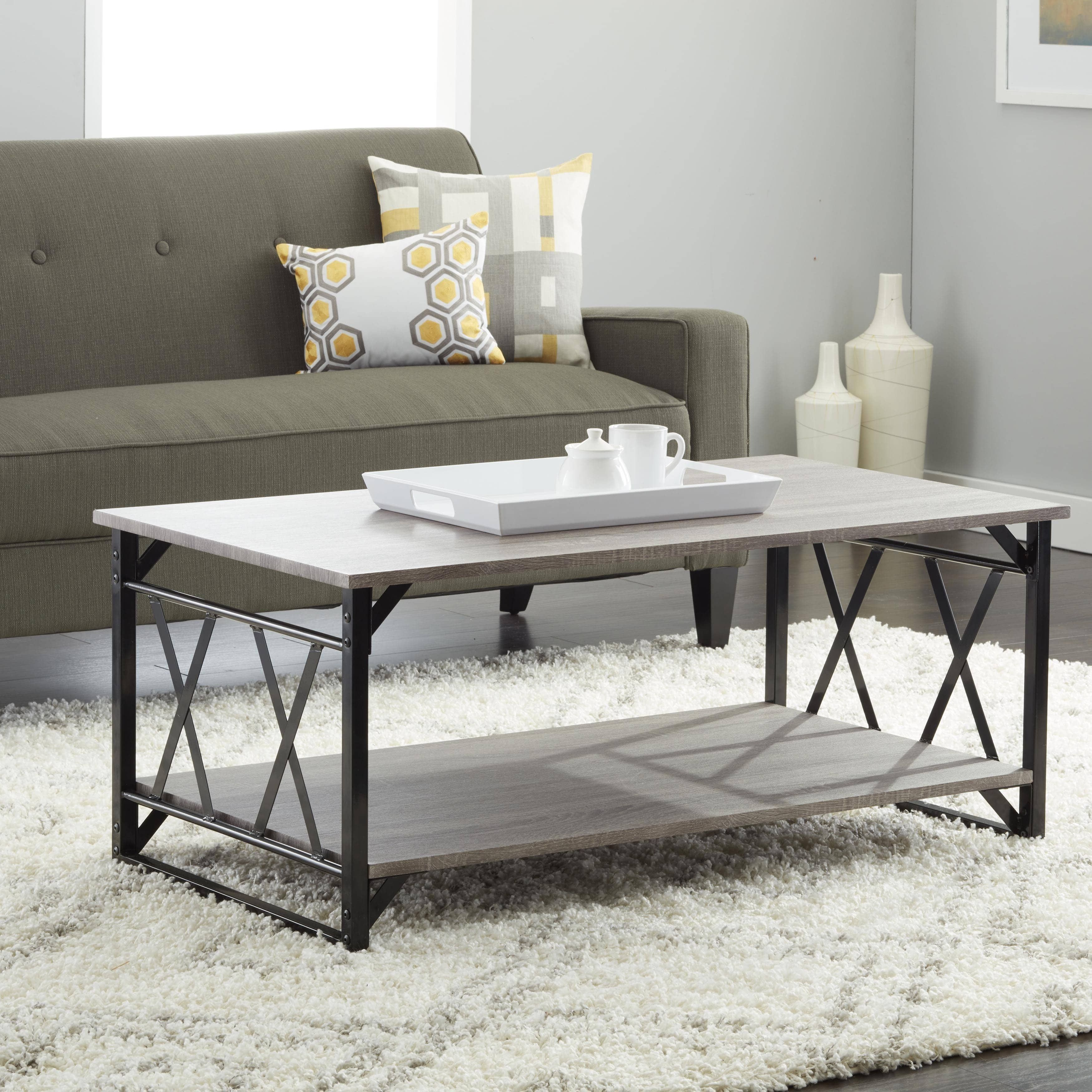 Best Living Room Furniture Deals: Reclaimed Style Grey Coffee Table With Double 'X' Frame