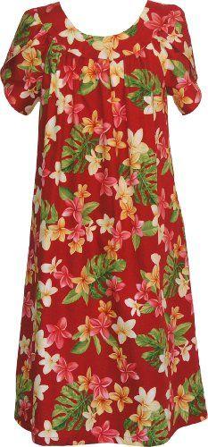 40790e05d89 RJC Womens Yellow Plumeria Tea Length Hawaiian Muumuu House Dress Red 3X