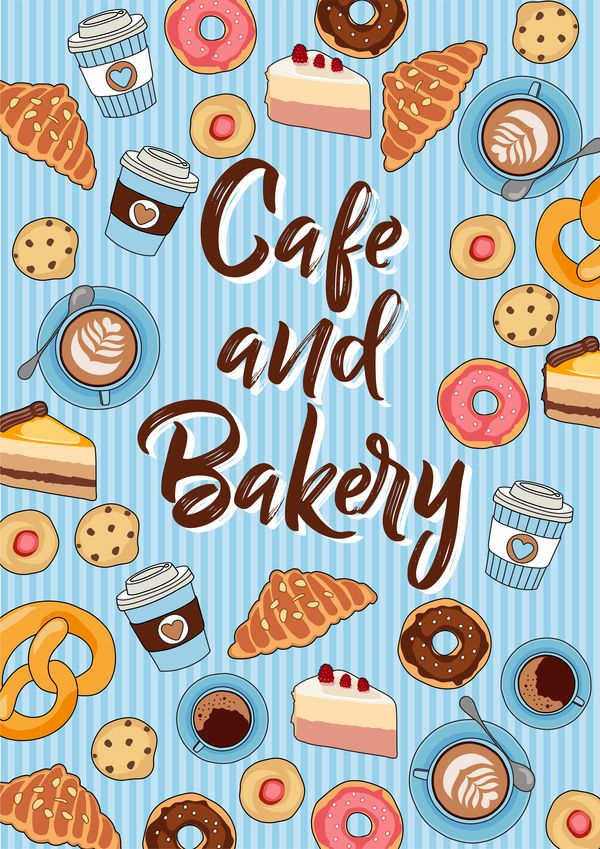 Free EPS file Cake with bakery seamless pattern vector 02