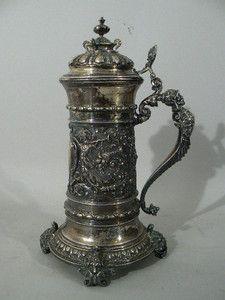 Antique German Beer Stein silver tankard Weishaupt figural knight cherubs great - Bobkretchkoantiques.com -r.eBay.com