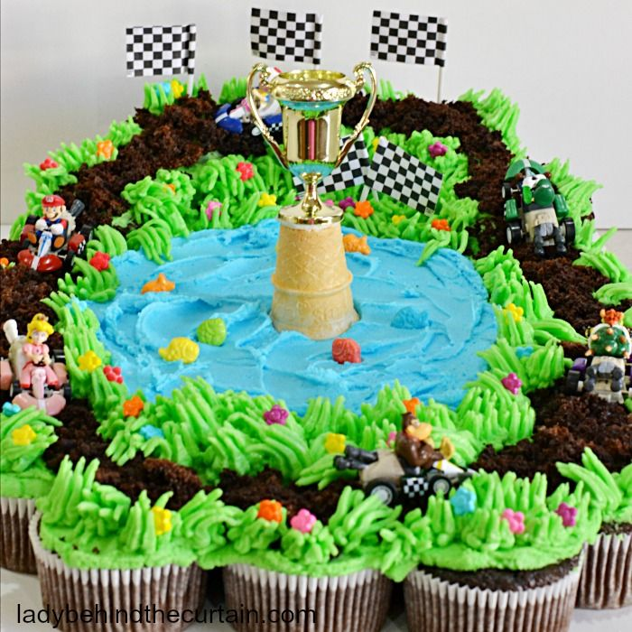 Mario Kart Cupcake Pull Apart Recipe Mario Birthday Cake