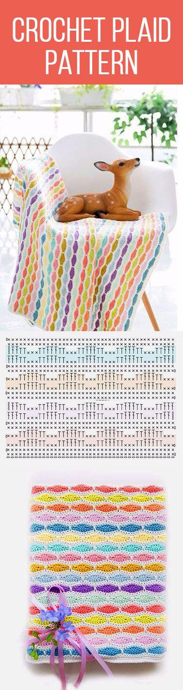 Crochet plaid pattern | Manualidades | Pinterest | Manta, Ganchillo ...
