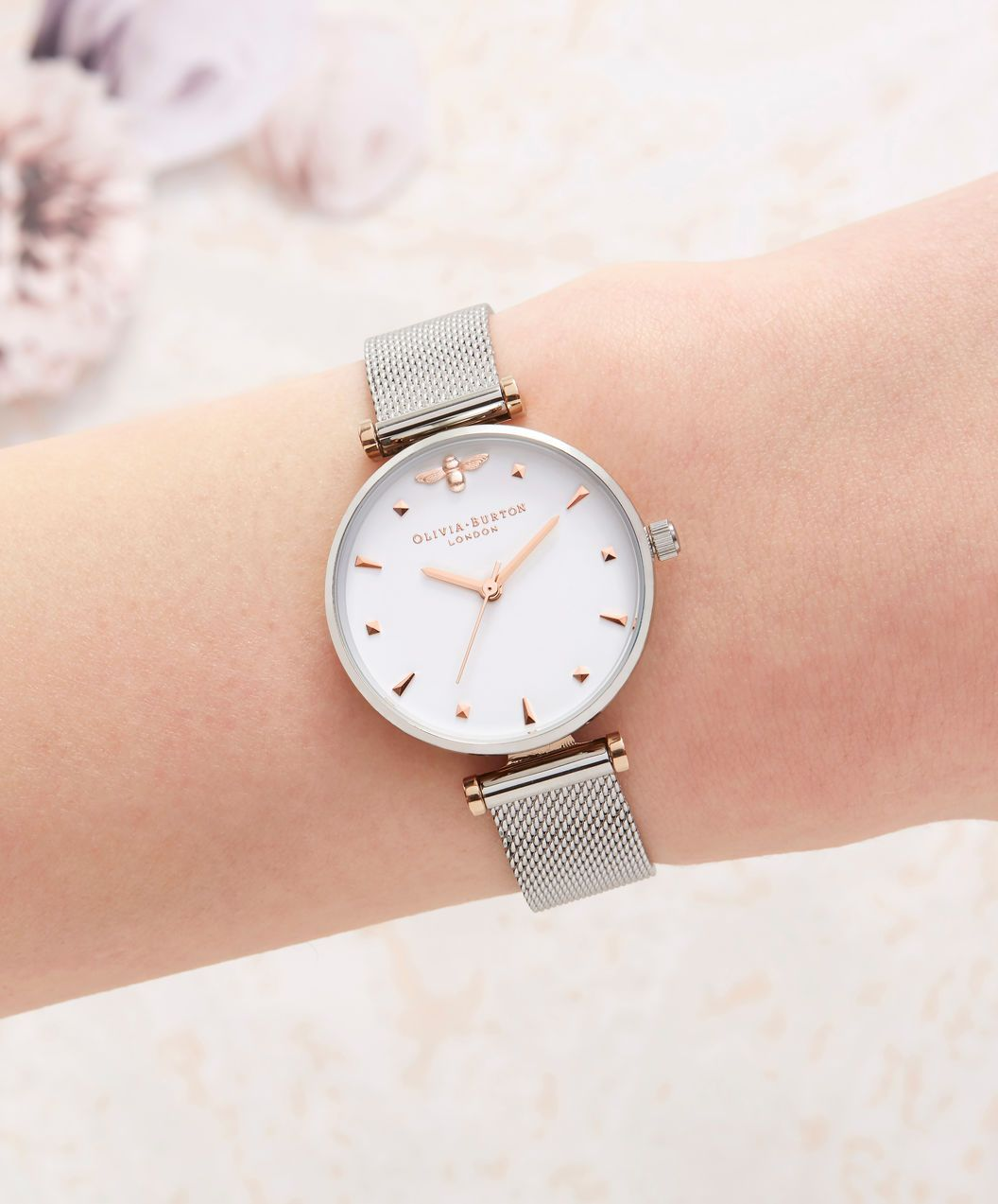 OLIVIA BURTON LONDON Queen Bee Silver Mesh Watch OB16AM140 – Midi Dial  Round in White and a9b30c7ff3