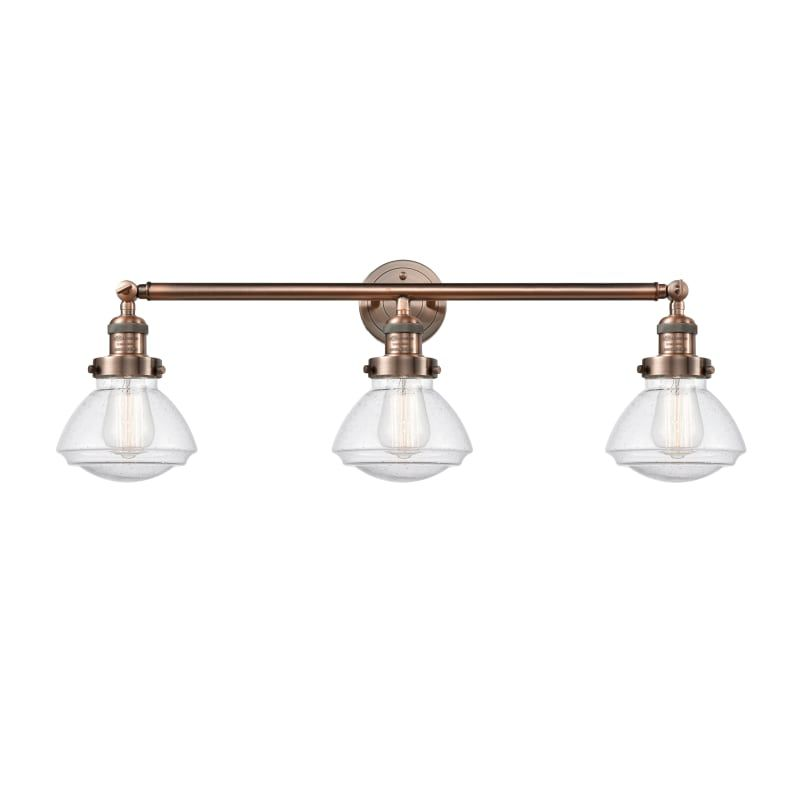 "Photo of Innovations Lighting 205 Olean Olean 3 Light 31 ""Wide Bathroom Vanity Light Antique Copper / Seedy Indoor Lighting Bathroom Fixtures Vanity Light"