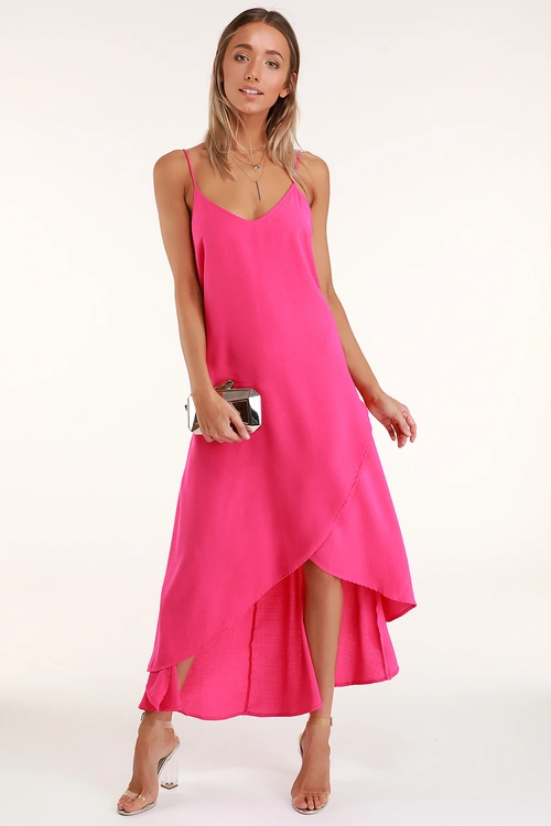 Sweet Surprise Bright Pink High Low Maxi Dress In 2020 Bright Maxi Dress High Low Maxi Dress Bright Pink Dresses