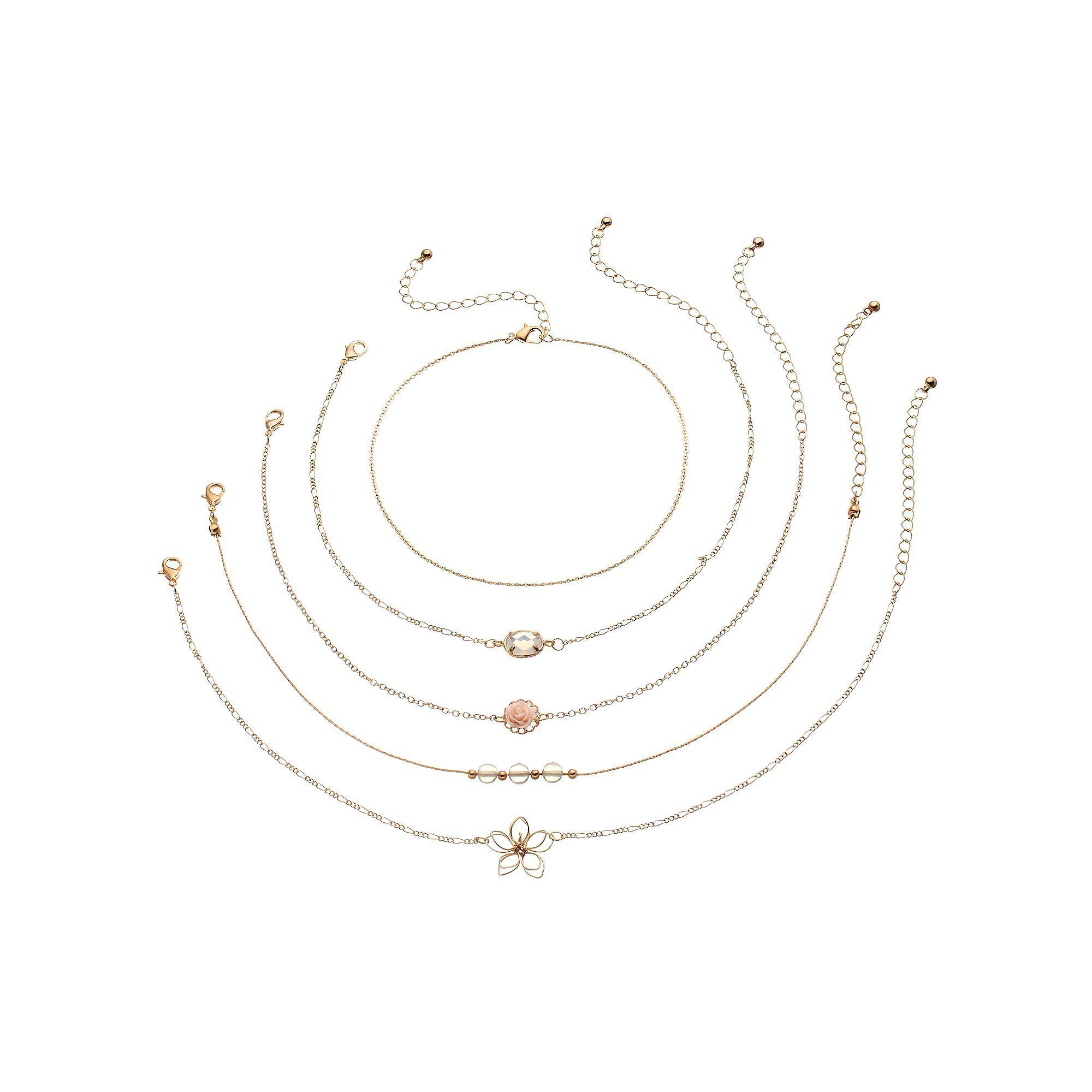 Mudd® Rosette & Wire Flower Choker Necklace Set, Women\'s, Gold ...