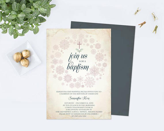 Downloadable Winter Baptism Invitation Template Pdf Editable