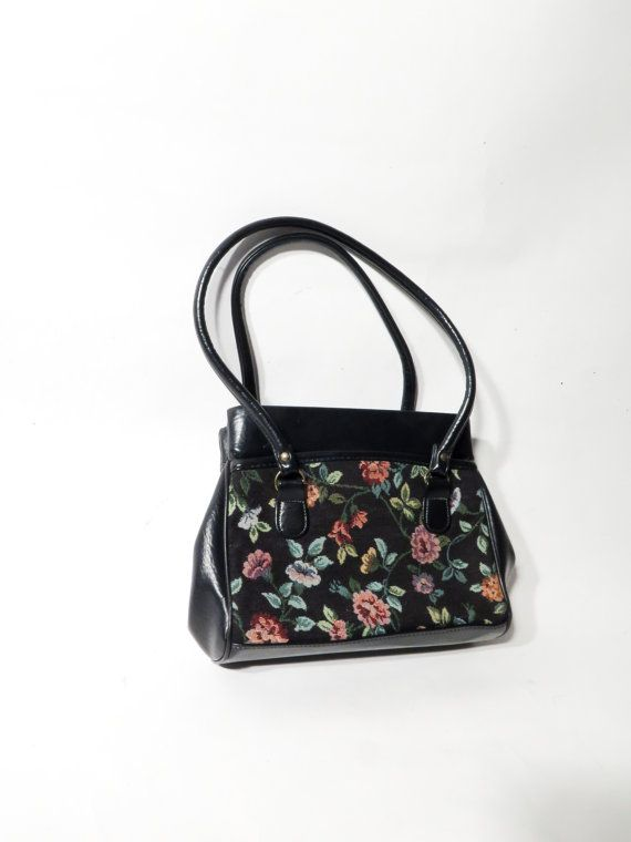 Vintage Black Faux Leather Tapestry Floral Small Women Bag by Ramaci on Etsy e2e801f364145