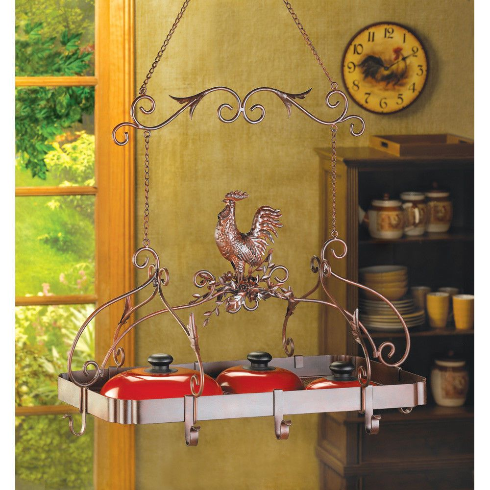 Hanging french country iron rooster pot rack fast ship | Pot rack ...