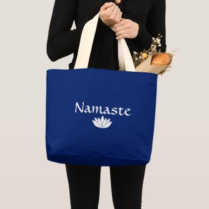 Namaste Tote Blue White Lotus Jumbo Tote Bag Yoga Health Design Namaste Mind Body Spirit Tote Bag Tote Large Tote Bag