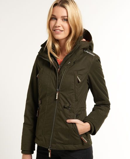 Shop Superdry Womens Microfibre Windparka Jacket in Army/light Coral. Buy  now with free delivery from the Official Superdry Store.