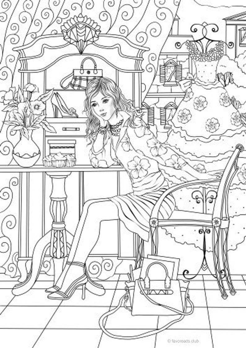 Dressing Up Printable Adult Coloring Page from Favoreads