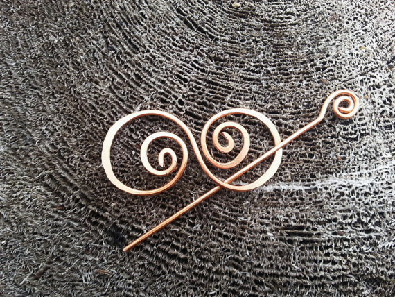 Hair barrette copper hair bow spiral hair clip. wire by Kapelika