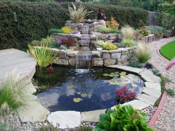 wasserfall garten selber bauen steingarten pflanzen | Wasserfall ...