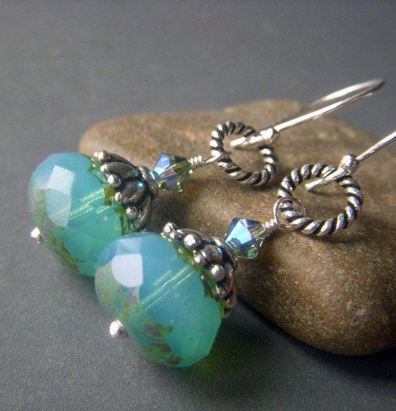 Blue Opal Glass Earrings Sterling Silver Earrings by beadstylin