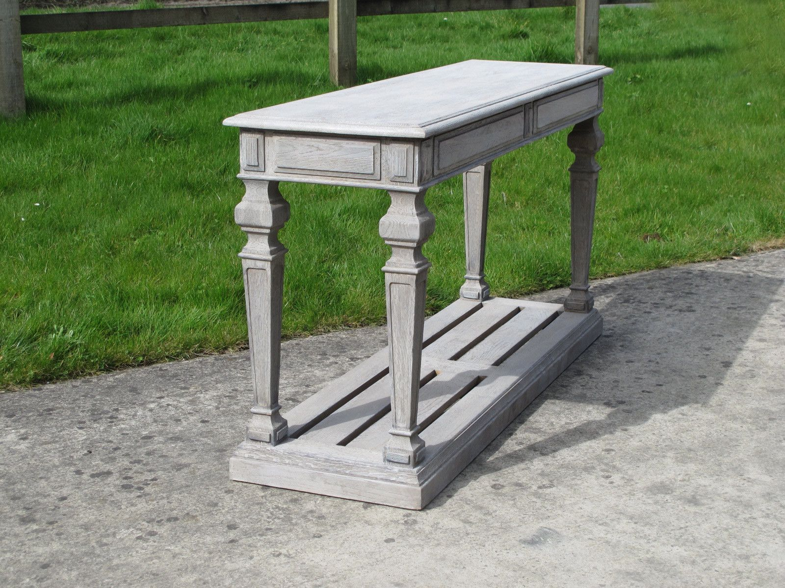 French country style console table grey limed oak finish french country style console table grey limed oak finish geotapseo Gallery