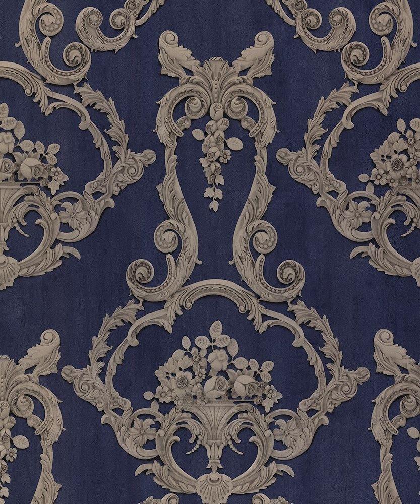 Debona Wallpaper Grosvenor in Blue Traditional Floral Damask Design 6216