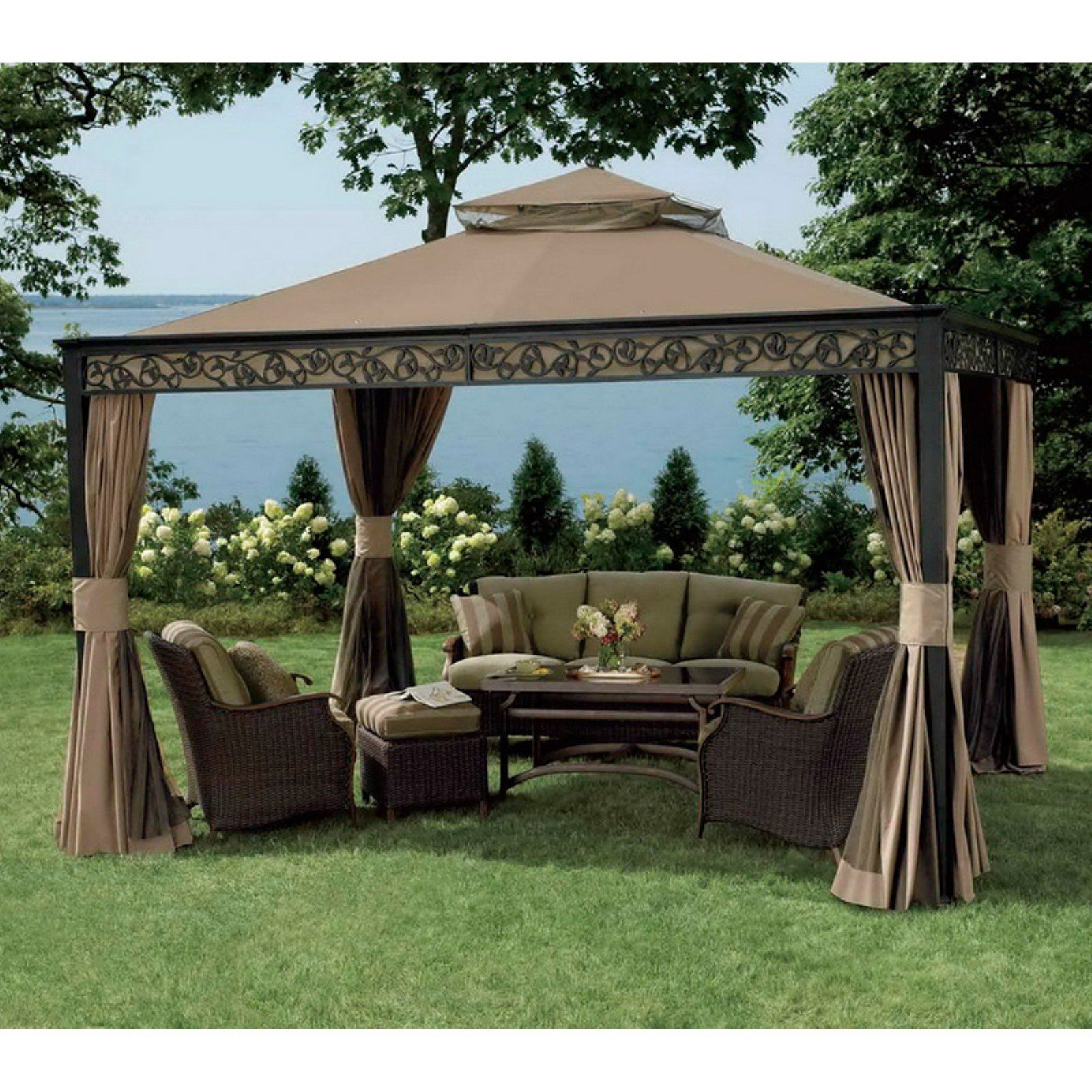 Sunjoy 10 X 12 Ft Replacement Canopy Cover For L Gz399pal 1 Deluxe Bixby Gazebo Canopy Outdoor Gazebo Patio Canopy