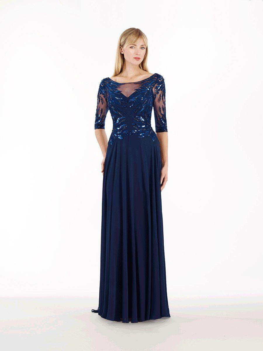 Long Blue 3/4 Length Sleeve Illusion Neckline Chiffon ...