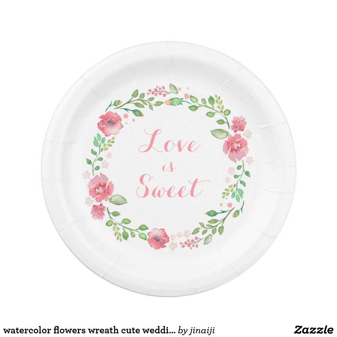 watercolor flowers wreath cute wedding paper plate  sc 1 st  Pinterest & watercolor flowers wreath cute wedding paper plate | Wedding and ...