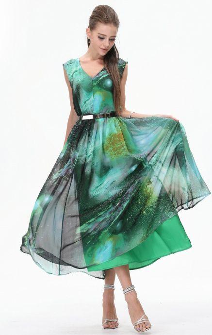 Green Sleeveless Galaxy Print Bandeau Dress