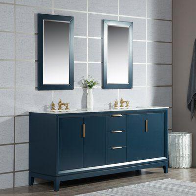 Ivy Bronx Tappahannock 72 Double Bathroom Vanity Set With Mirror In 2020 Marble Vanity Tops Blue Bathroom Vanity Single Bathroom Vanity