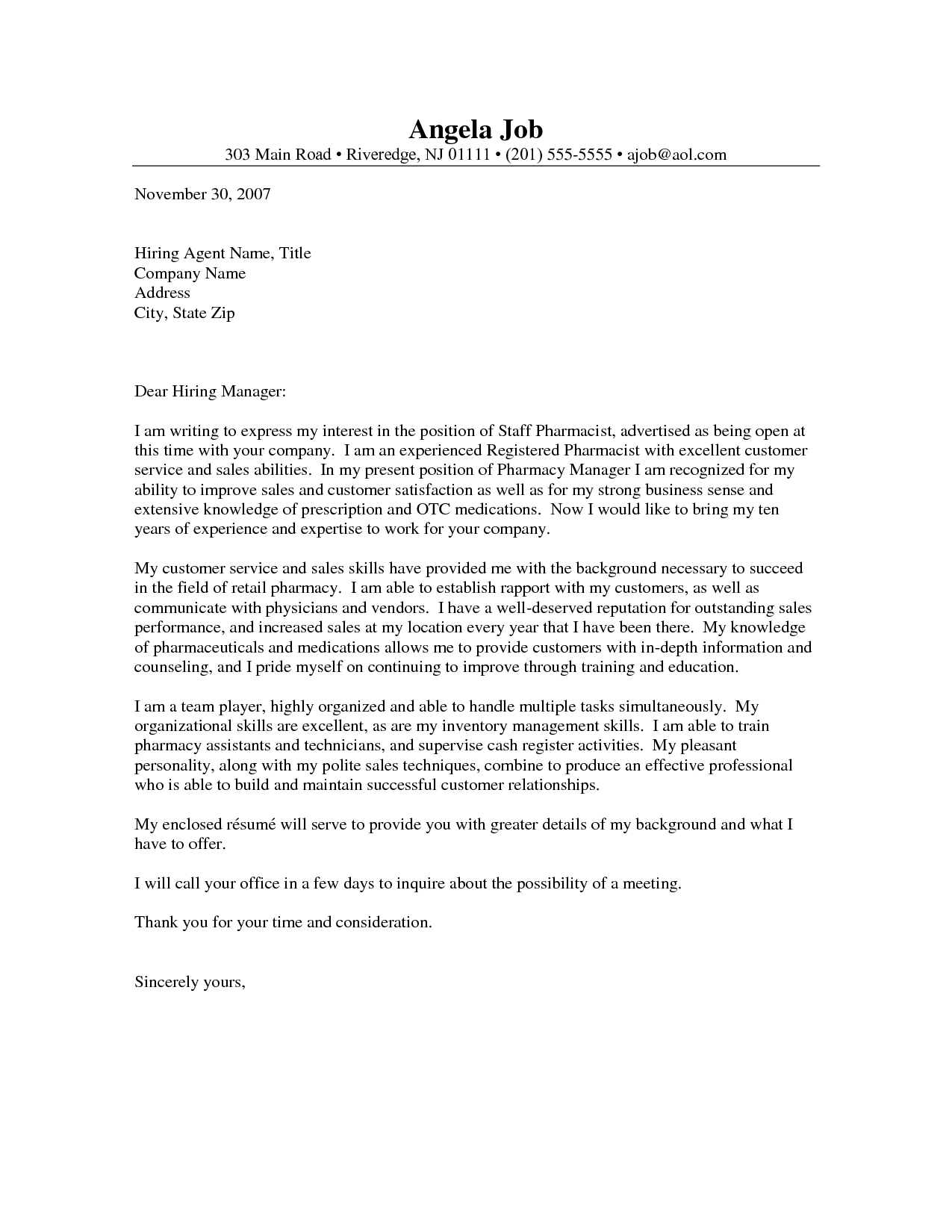 Pharmacy Cover Letter Excellent Sample For Technician The