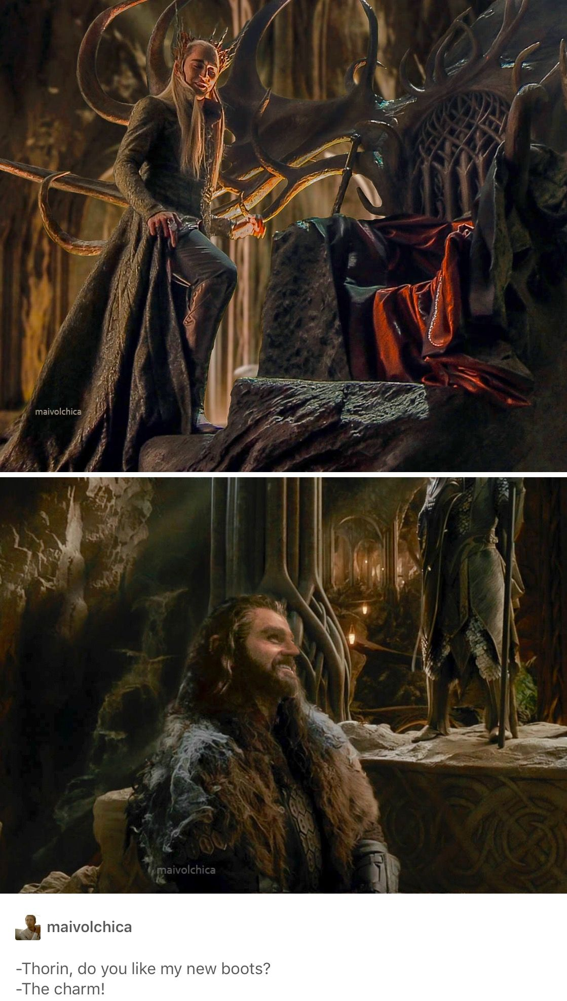 Prince Thorin (lovingly and smiling) looking up to King Thranduill: must be bts.