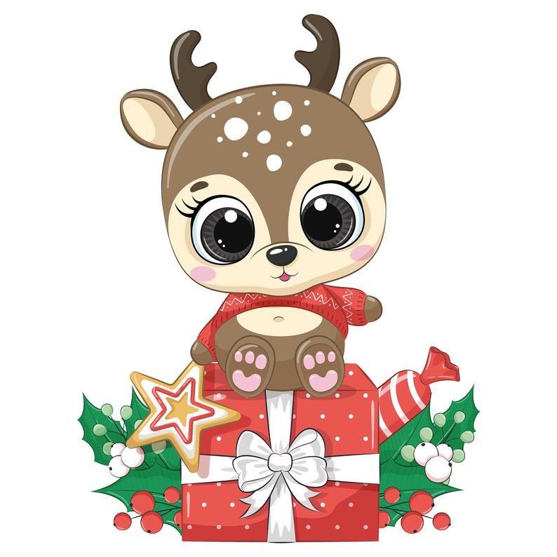 Christmas Deer Clipart Winter Clipart Cartoon Christmas Kids Clipart Nursery Clipart In 2020 Christmas Animals Christmas Deer Merry Christmas Baby