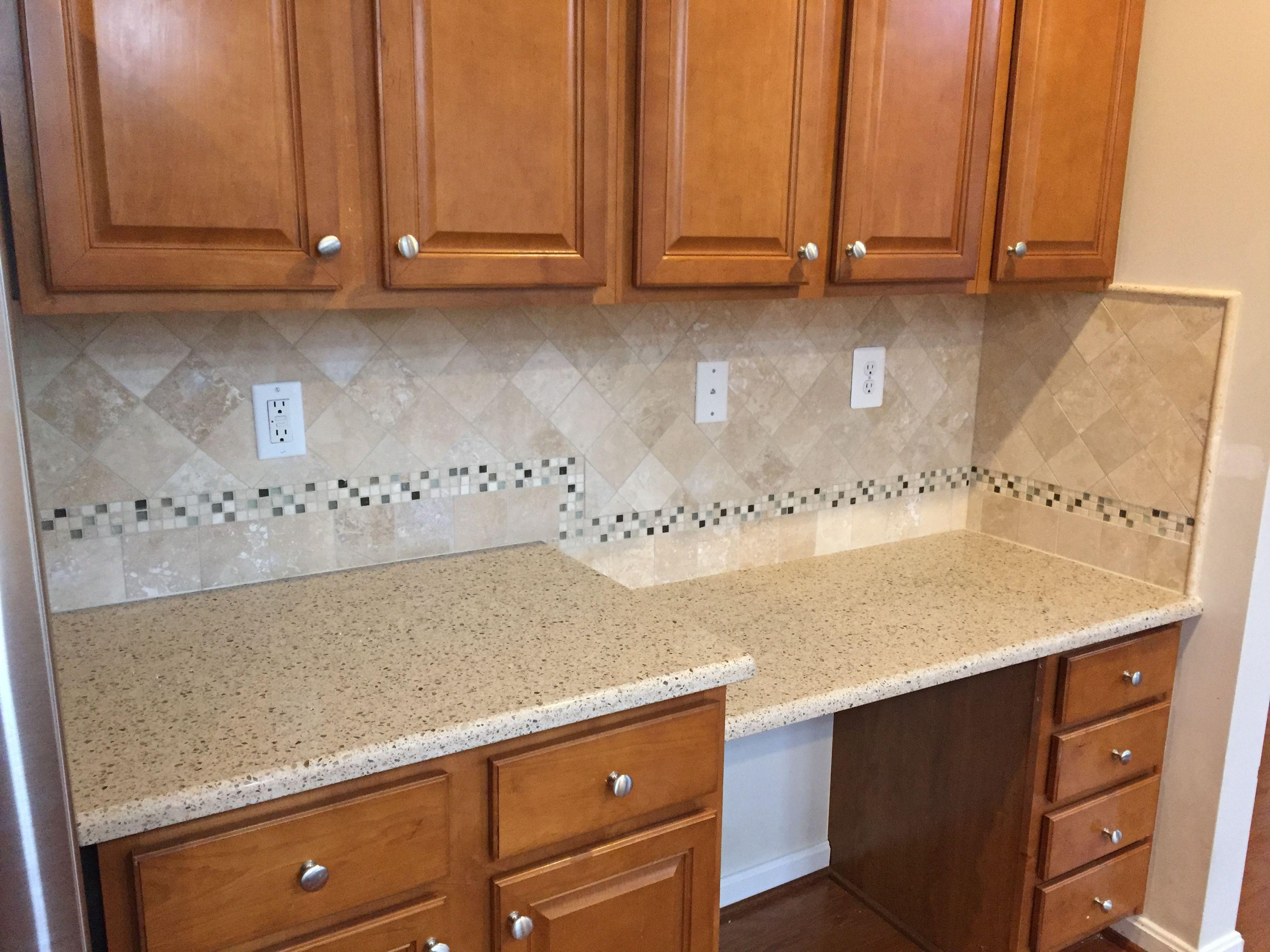 Bamboo Silestone And Travertine Backsplash Countertops Kitchen Ideas