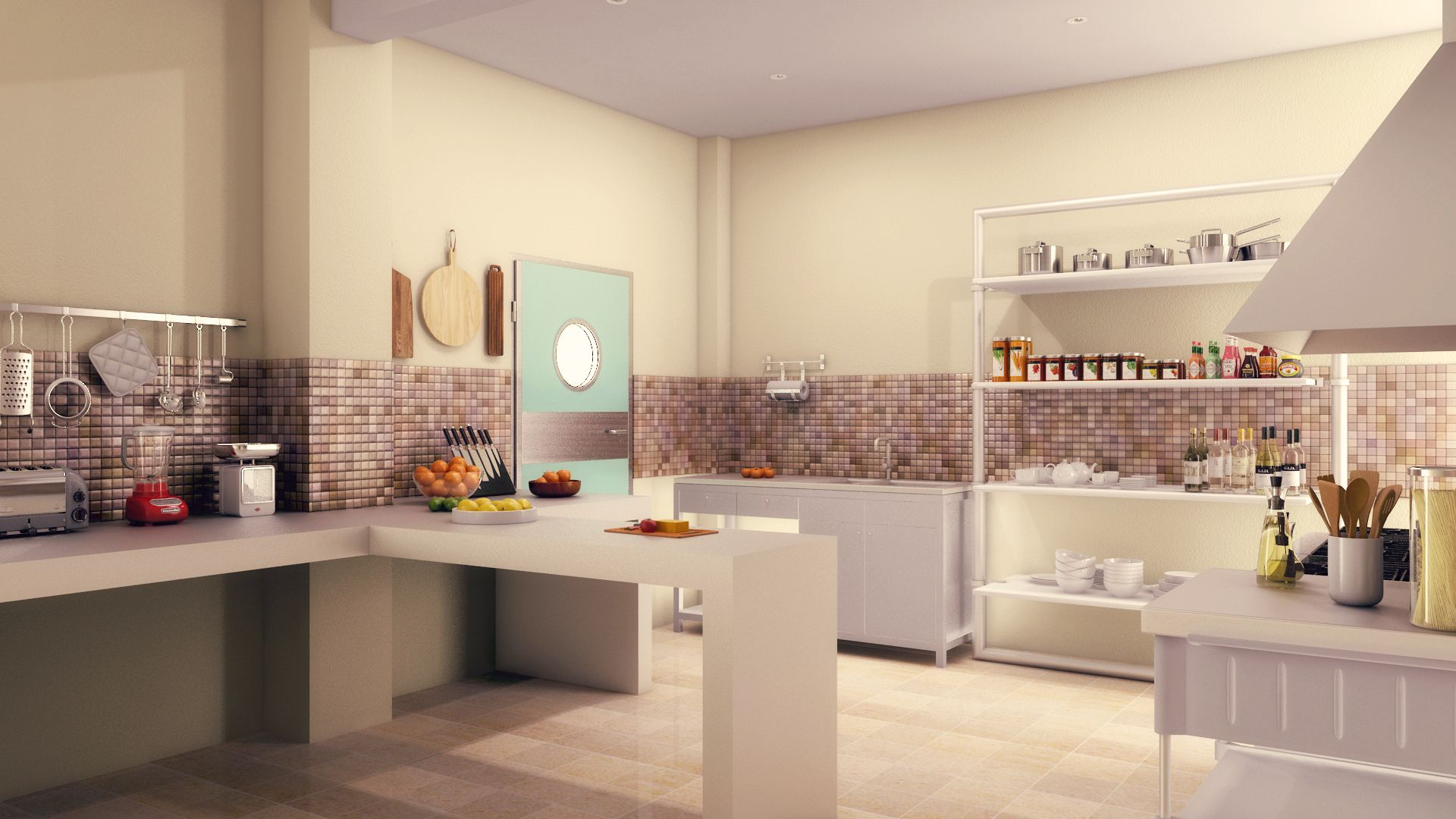 Cocina para salon de eventos Diseño y Render: Arq. Abraham Gonzalez ...