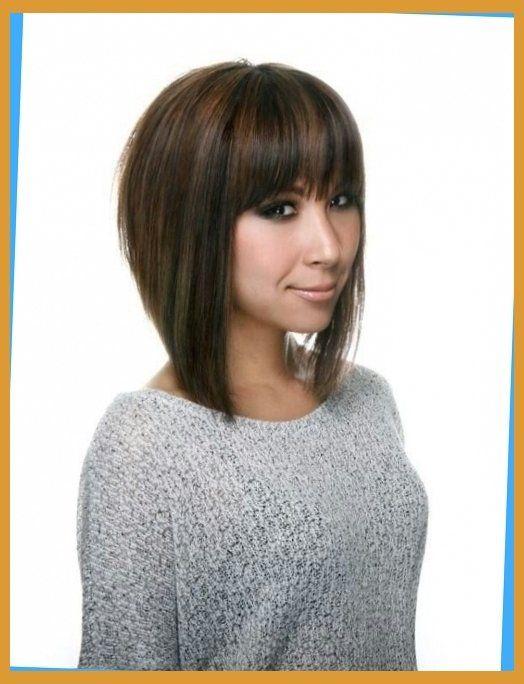 bangs with line haircut hair
