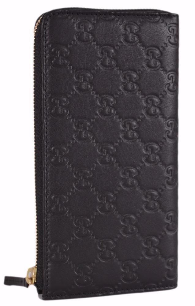 42255e3ae77fb1 New Gucci Women's 332747 Black Leather GG Guccissima Zip Around Wallet  Clutch…