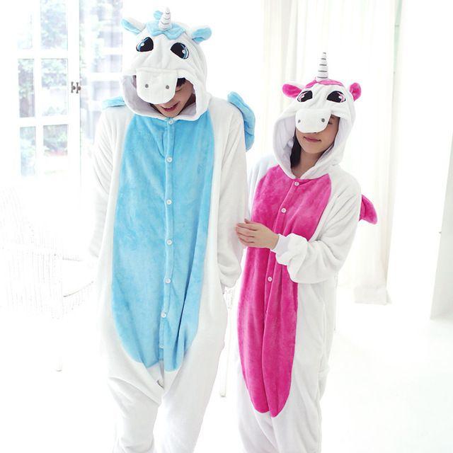 b84028e9e78c23 Nova flanela unicórnio Pijama Unisex Homewear bonito Onesies para ...