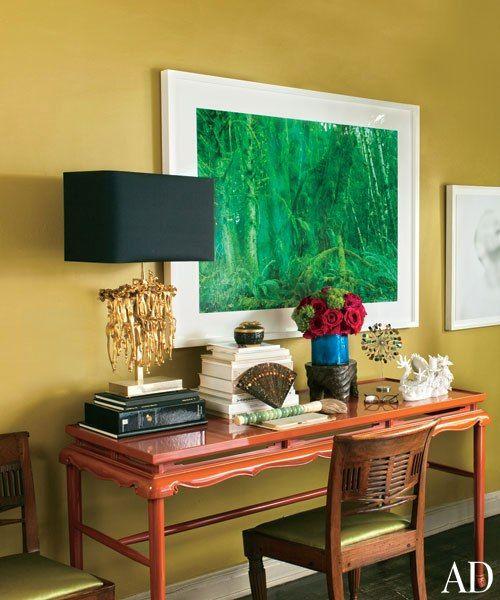 Carlos Mota's NYC apartment, Karl Springer desk with a David Benjamin Sherry photograph