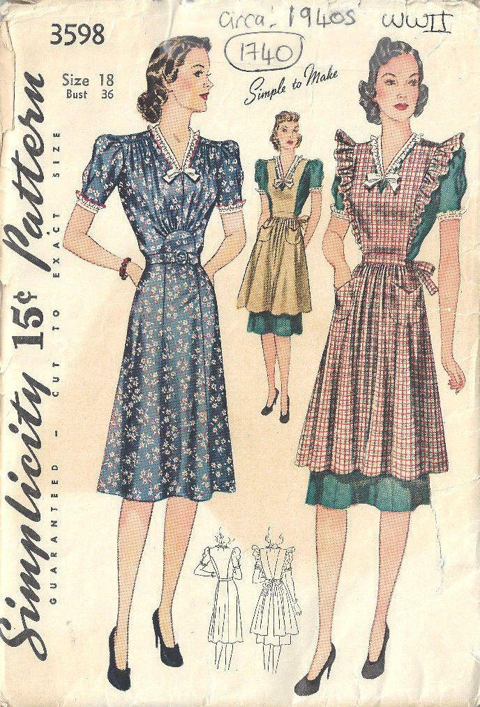 1940s WW11 Vintage Sewing Pattern B36\