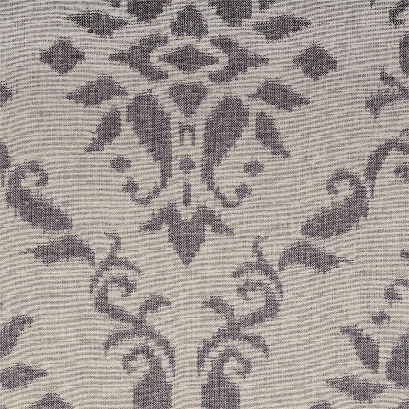 Azure Pewter Grey Damask Pattern On Linen Style Draperies