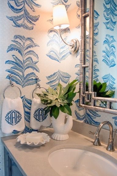 Banana Leaf Krane Home Half bath remodel, Wallpaper