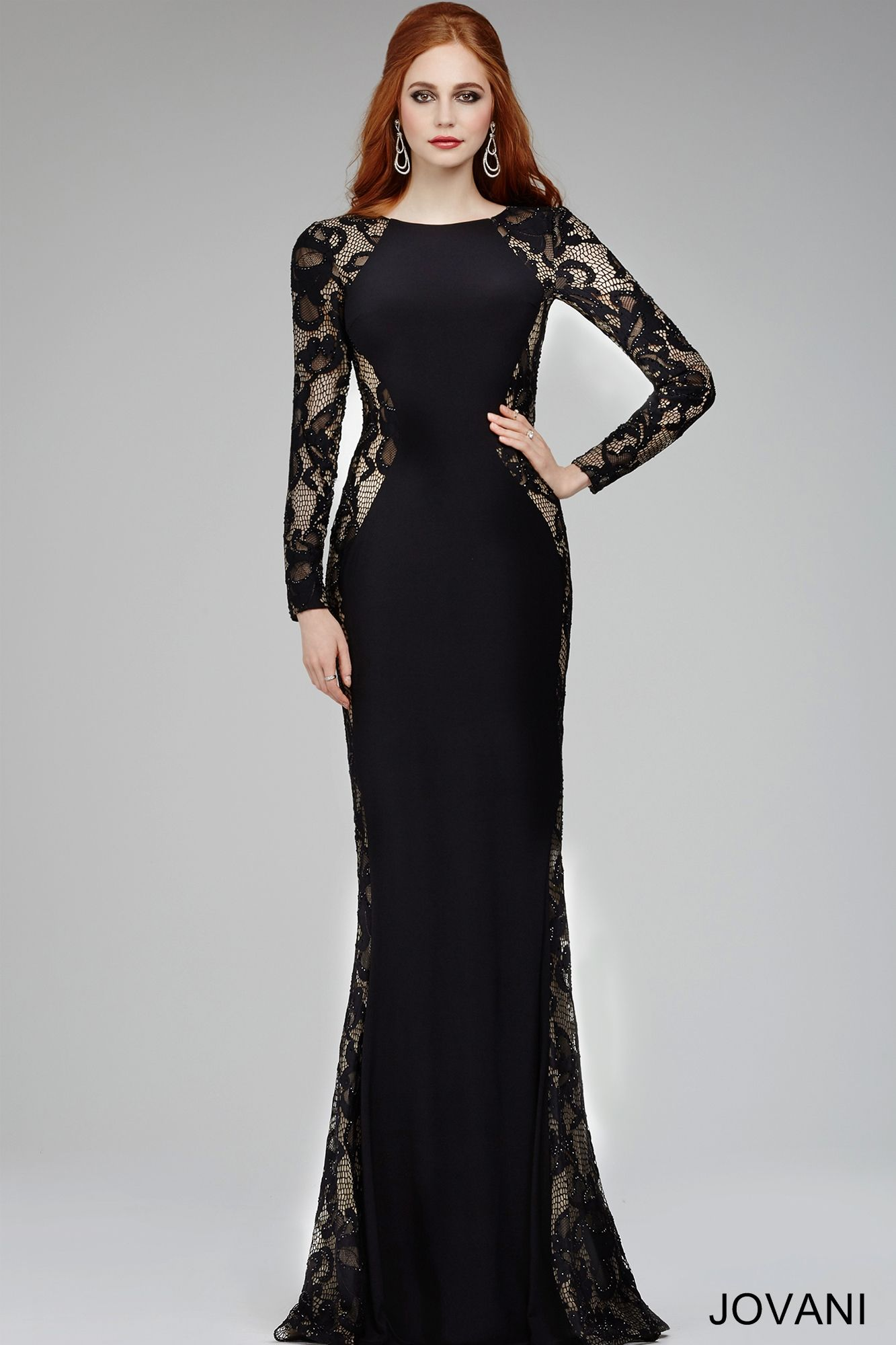 Jovani Dress 22331 Black Fitted Long Lace Sleeves Jersey Floor Long Dress With High Neckline Black Lace Long Sleeve Dress Long Sleeve Lace Dress Dresses