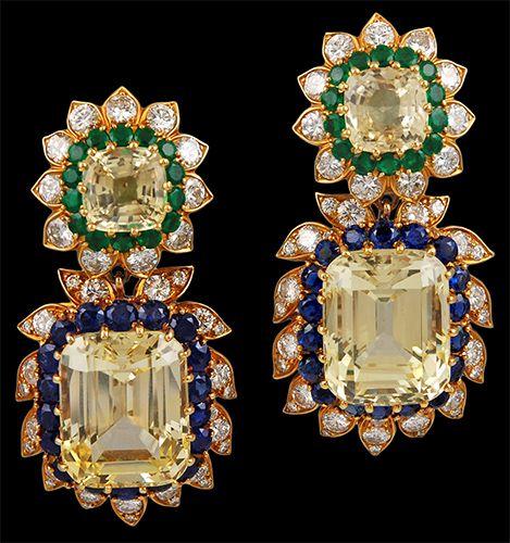 VAN CLEEF & ARPELS Sapphire, Emerald & Diamond Earrings