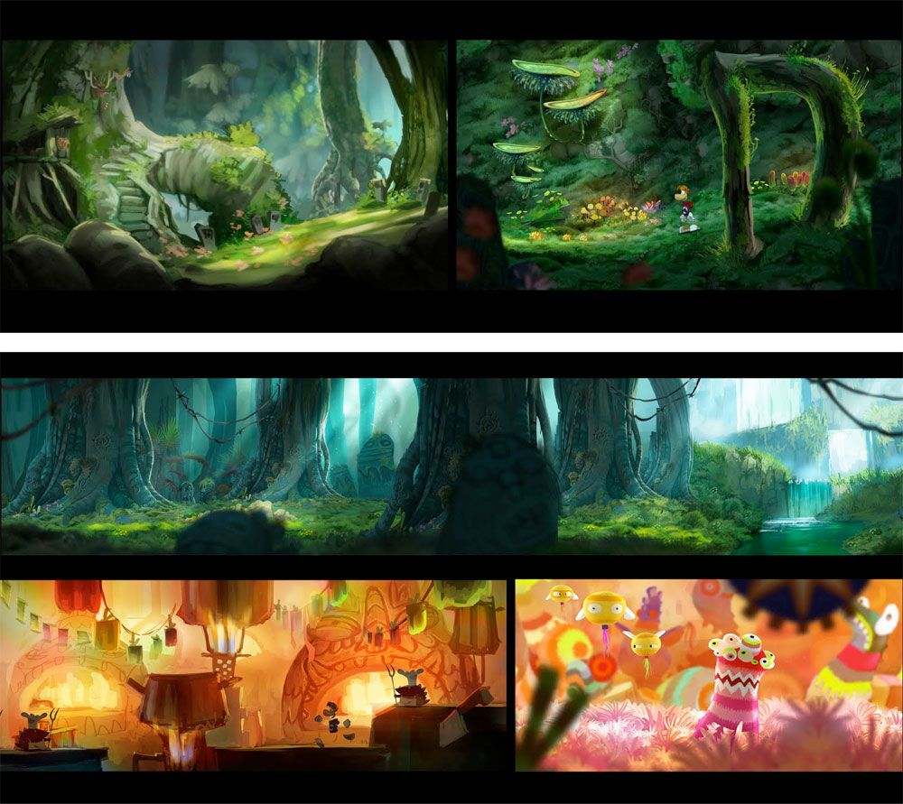 Beautiful concept artwork from Raymond Origins     http://theconceptartblog.com/2012/01/18/mais-concept-arts-de-rayman-origins-por-floriane-marchix/